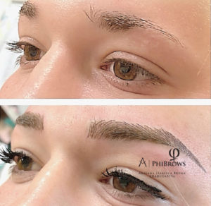 Hybrid eyerbrows (microblading & machine shading) for shape correction and density enhancenent